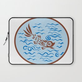 Medieval Fish Swimming Oval Retro Laptop Sleeve