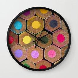 Wooden coloured pencils Wall Clock