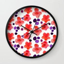 Retro Hippie 1960's Pink Magenta Trendy Floral Pattern Wall Clock