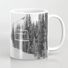 Ski Chair Lift B&W \\ Deep Snow Season Pass Dreams \\ Snowy Winter Mountains Landscape Photography Coffee Mug