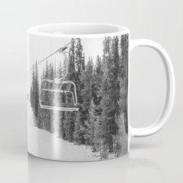 Ski Chair Lift B&W \\ Deep Snow Season Pass Dreams \\ Snowy Winter Mountains Landscape Photography Coffee Mug