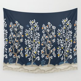 Citrus Grove Chinoiserie Mural - Navy Wall Tapestry