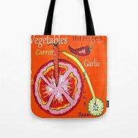 vegetables Tote Bags featuring Vegetables by Sartoris ART