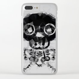 psychedelic skull and bone art geometric triangle abstract pattern in black and white Clear iPhone Case