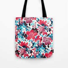 Happy Red Flower Collage Tote Bag