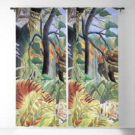 Tiger in a Tropical Storm (Surprised!) by Henri Rousseau 1891 // Jungle Rain Stormy Weather Scene Blackout Curtain