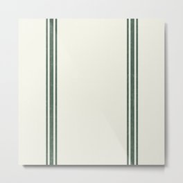 Vintage Country French Grainsack Green Stripes Creme Background Metal Print