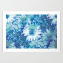 Blue Daisy Print Art Print