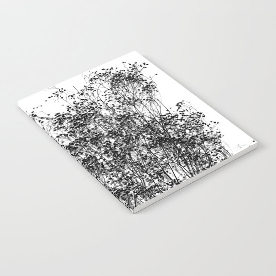 Black Foliage on White Notebook