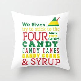 Elves food Groups - Elf the movie Throw Pillow