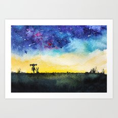Making wishes on a shooting star Art Print