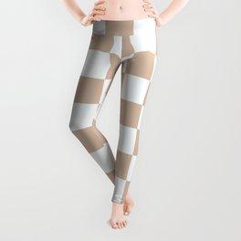 Checkered Pattern Creamy Grayish White and Grayish Orange Leggings