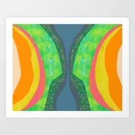 Shapes and Layers no.25 - Abstract painting Blue, Green, pink, yellow orange Art Print