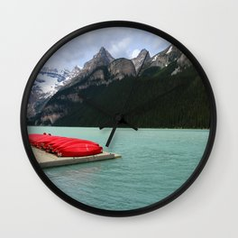 Lake Louise Red Canoes Wall Clock