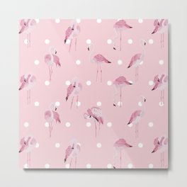 Flamingo pattern on pink background with white polka dots Metal Print
