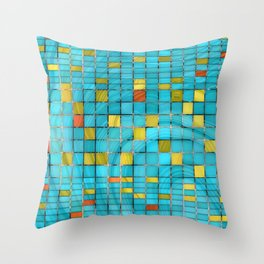 Block Aqua Blue and Yellow Art - Block Party 2 - Sharon Cummings Throw Pillow