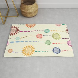 Colored floral design Rug