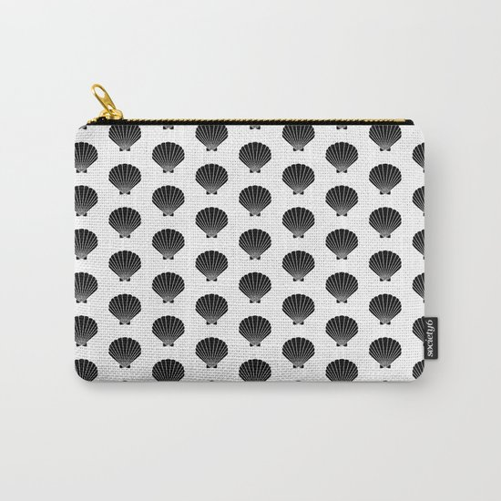 Seashells abstract black and white minimal pattern print painting india ink brushstroke modern art Carry-All Pouch