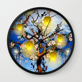 Cherry tree blossom garden with yellow lanterns and moonlight Wall Clock