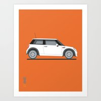 mini cooper Art Prints featuring Mini Cooper by Aimee Liwag