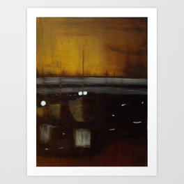 Nocturne in Black, Gold and Silver - Woodley Island Marina Art Print