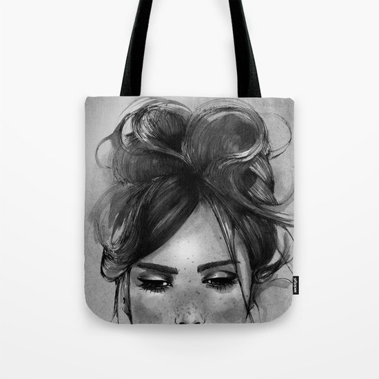 Sweet freckles girl face Tote Bag