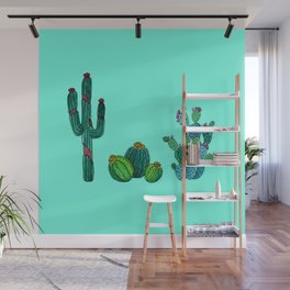 Gouache Watercolor cactus teal background Wall Mural