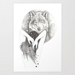 WolfMoon Art Print