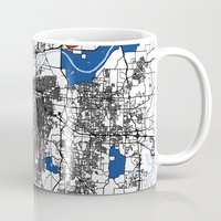 kansas Mugs featuring Kansas city mondrian map by Mondrian Maps