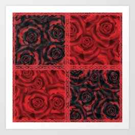 Patchwork . Roses are red. Art Print