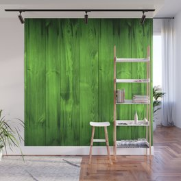Green Grass Wood Planks Wall Mural