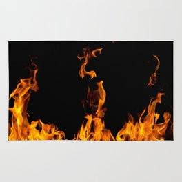 Fire flames on black Rug