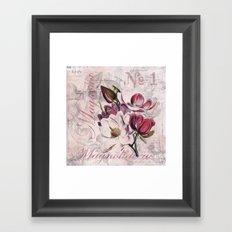 Vintage Magnolia flower illustration Framed Art Print