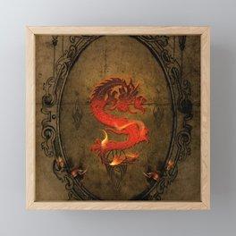 Wonderful asian dragon with flames Framed Mini Art Print