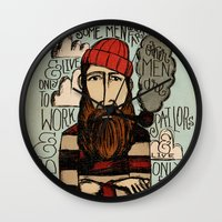 men Wall Clocks featuring SOME MEN ARE SAILORS by Matthew Taylor Wilson
