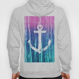 Nautical Anchor Pink Teal Watercolor Stripes Drips Hoody