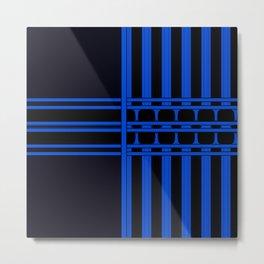 Bright Bold Blue Lines Design Metal Print