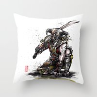 skyrim Throw Pillows featuring Dragonborn of Skyrim Japanese sumie style by mycks