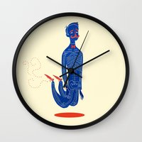 onesie Wall Clocks featuring High  by Karl James Mountford