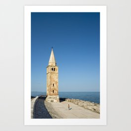 Bell tower and Sea, Caorle, Italy Art Print