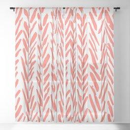 Boho mudcloth herringbone pattern - living coral Sheer Curtain