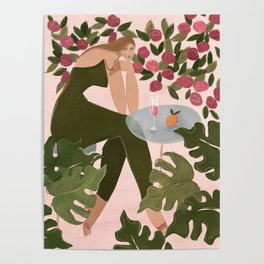 Brunch in the rose garden Poster