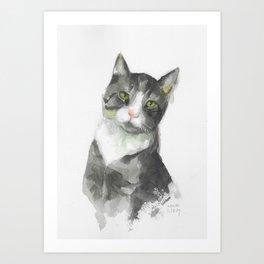 Green-Eyed Cat Watercolor Portrait Art Print