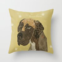 great dane Throw Pillows featuring the great dane by bri.buckley