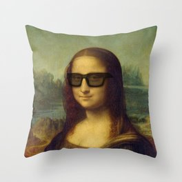 Hipster Mona Lisa in her Hipster Shades Throw Pillow