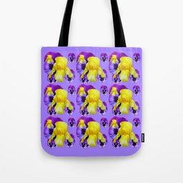 LILAC MONTAGE YELLOW IRIS PURPLE PANSY ART Tote Bag