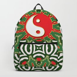 Red Yin Yang Sun Festive Mandala Backpack
