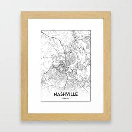 Minimal City Maps - Map Of Nashville, Tennessee, United States Framed Art Print