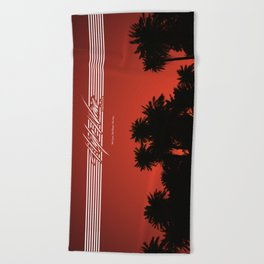 High Wave Radio - Sunset and Palmtrees Beach Towel