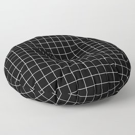 Square Grid Black Floor Pillow